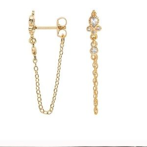 Jewelry - Dainty 18K Gold  CZ Chain Stud Earrings